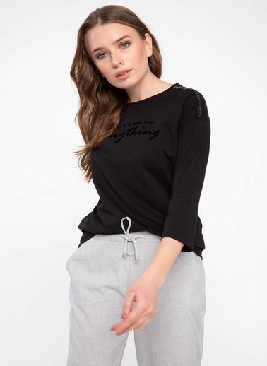 DeFacto Simli Kadife Şeritli Düşük Omuzlu Uzun Kollu T-shirt Siyah